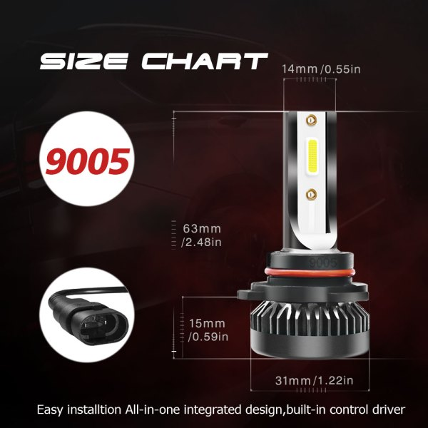LED Headlight Bulbs Conversion Kit 9005 HB3 H10 6000K Cold White All in One 8