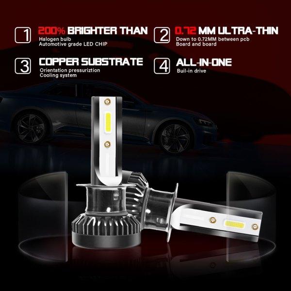 H1 LED Headlight Bulbs Conversion Kit 6000 K Cold White 360° Adjustable Beam 5