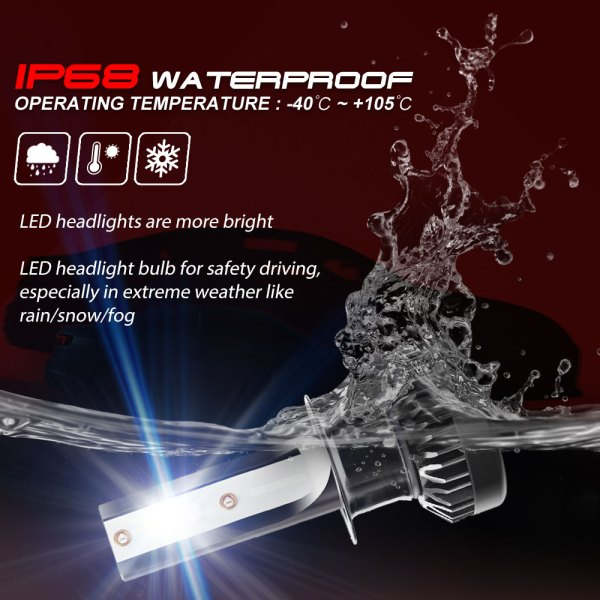 H1 LED Headlight Bulbs Conversion Kit 6000 K Cold White 360° Adjustable Beam 6