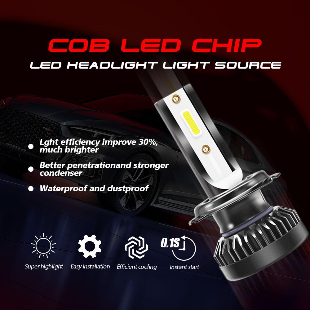 2 x H7 LED Headlight Conversion Kit COB Bulb 110W 26000LM White High Power 6000K