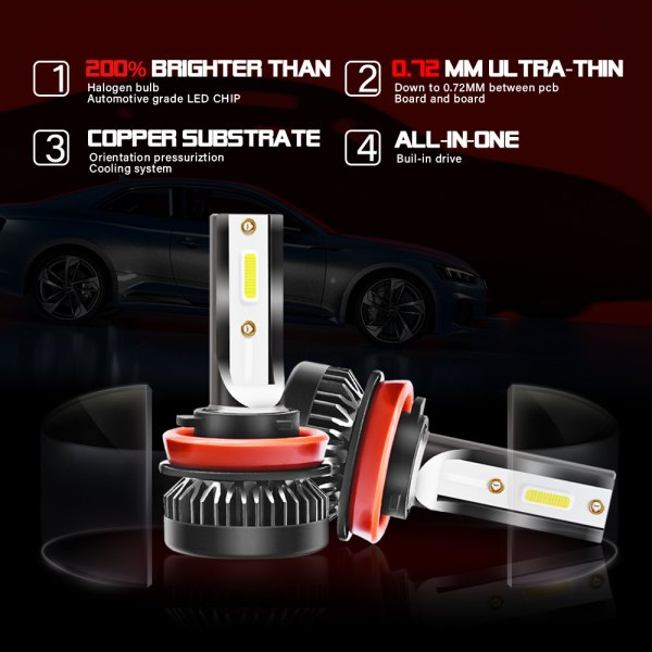 H8 H9 H11 LED Headlight Bulbs Conversion Kit 6000 K Cold White All in One Model 5