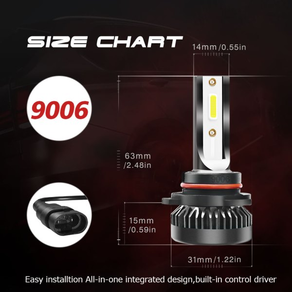 LED Headlight Bulbs Conversion Kit Beam 9006/HB4 6000K Cold White All in One 8