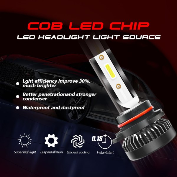 LED Headlight Bulbs Conversion Kit 9012 6000K Cold White All in One Model 2 PCS 5