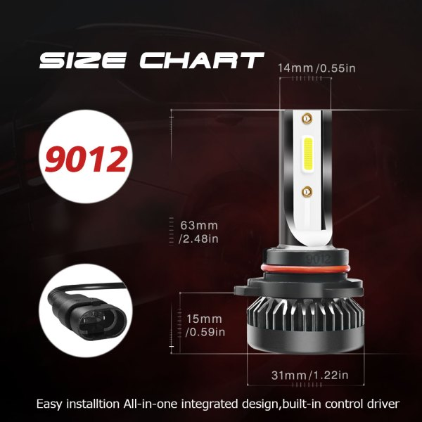 LED Headlight Bulbs Conversion Kit 9012 6000K Cold White All in One Model 2 PCS 9