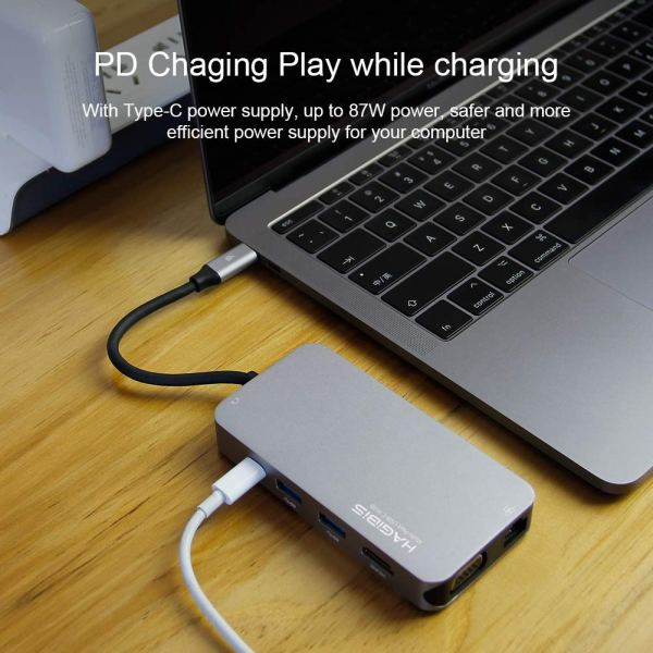 USB C Hub, 10 in 1 Type-C Hub with Gigabit Ethernet Port, USB C to 3 USB 3.0 Ports, 4K HDMI, VGA, SD/TF Card Reader, Type-C PD Charging and AUX Port 6