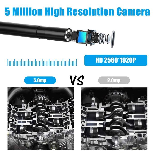 Wireless Endoscope 5MP HD LED WiFi Borescope Inspection Camera for Android & iOS 4