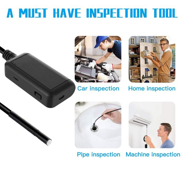 Wireless Endoscope 5MP HD LED WiFi Borescope Inspection Camera for Android & iOS 7
