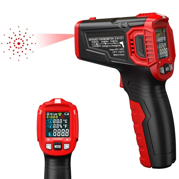 AUTENS Infrared Thermometer Tester, Non-Contact IR Digital Temperature Gun for Range -50°C~550°C / -58°F~1022°F with IR and Ambient Temperature, Humidity Measuring 1