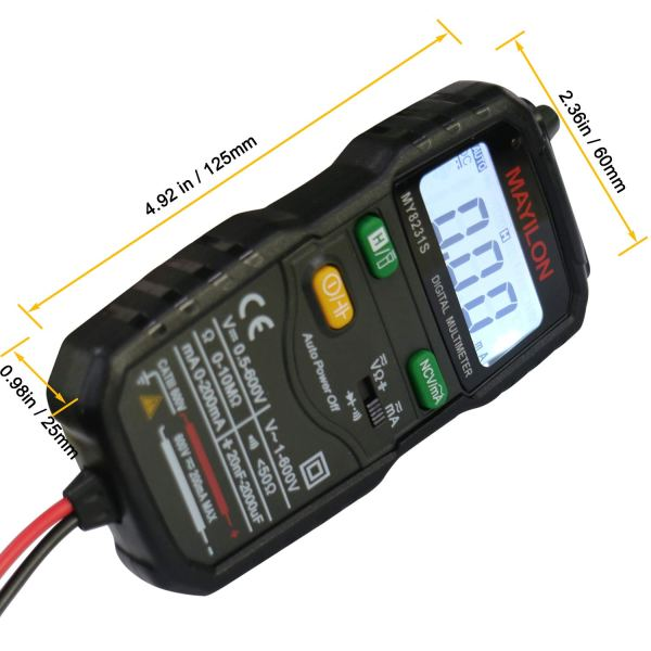 Mini Digital Multimeter,Portable Hand held Tester for Resistance Capacitance Auto Smart Detector 4