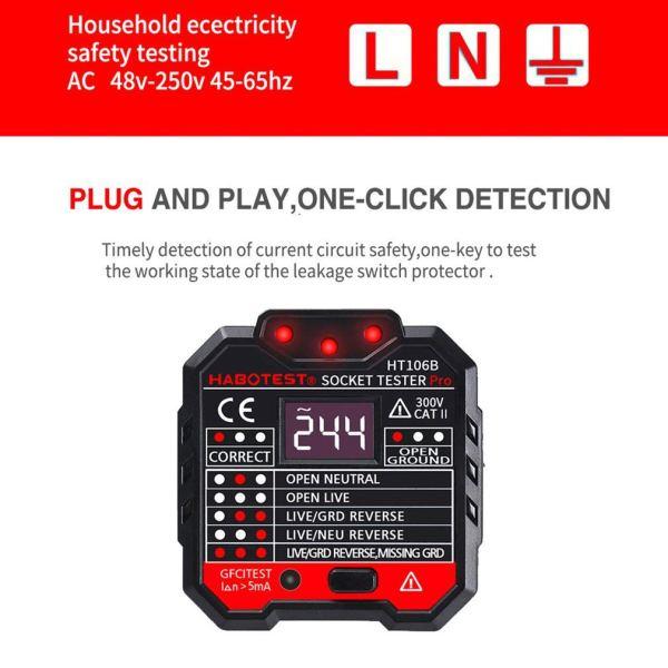 Socket Tester Plug Circuit Analyzer Power Socket Electric Circuit Polarity Voltage Detector 4