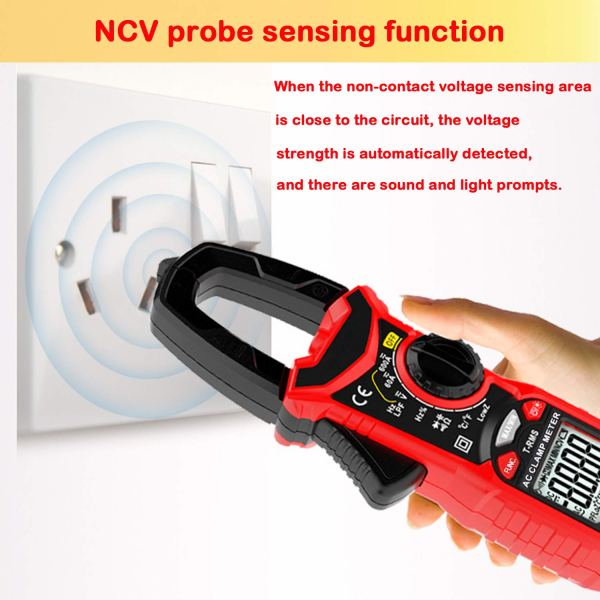 Digital Clamp Meter 6000 Counts True RMS NCV AC/DC Voltage and AC Current Resistance Capacitance Frequency Tester 6