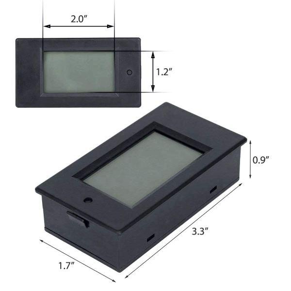 Digital Multimeter DC 6.5-100V 0-100A LCD Display Ammeter Voltmeter Multimeter Volt Watt Power Energy Meter with 100A 75mV Shunt 6