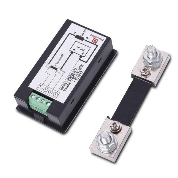 Digital Multimeter DC 6.5-100V 0-100A LCD Display Ammeter Voltmeter Multimeter Volt Watt Power Energy Meter with 100A 75mV Shunt 7