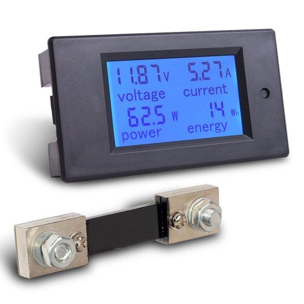 Digital Multimeter DC 6.5-100V 0-100A LCD Display Ammeter Voltmeter Multimeter Volt Watt Power Energy Meter with 100A 75mV Shunt 1