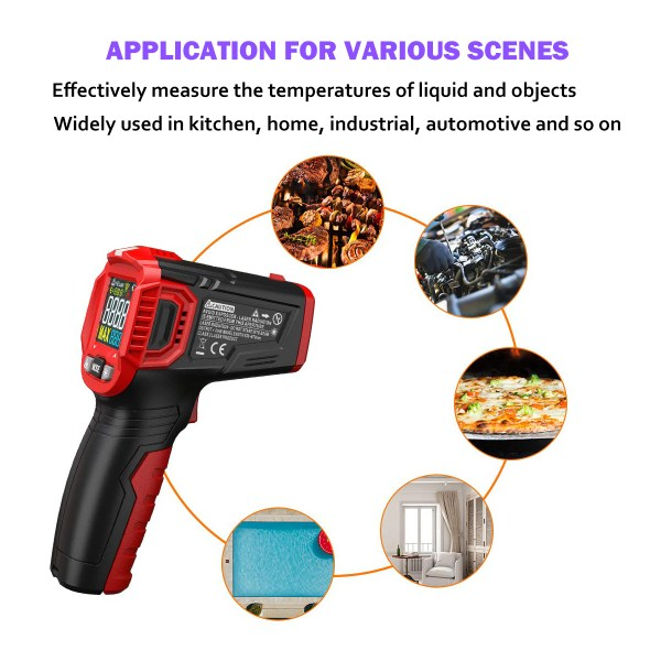 Infrared Thermometer Tester, Non-Contact IR Digital Temperature Gun for Range -50°C~550°C / -58°F~1022°F with Adjustable Emissivity, Color LCD Screen, Alarm Setting 4