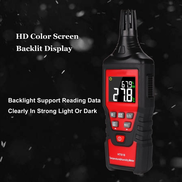 Digital Backlit Temperature and Humidity Meter with Dew Point and Wet Bulb Temperature Hygrometer 5