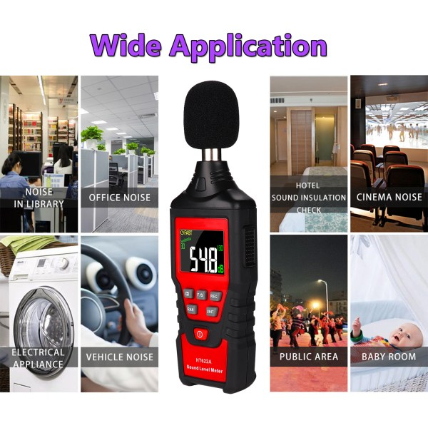 Decibel Meter, Digital Sound Level Meter 30-130dB(A) Range with Max/Min/Data Hold, Fast/Slow Mode ect. Auto/Manual Range 4