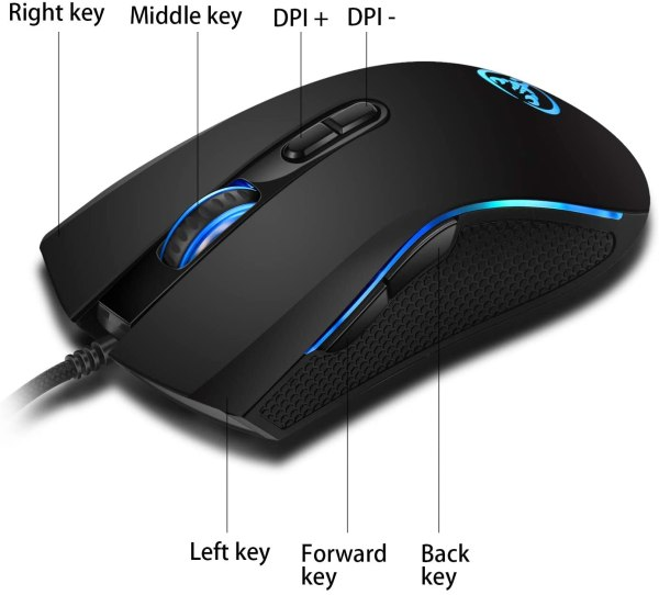 HXSJ A869 Wired Gaming Mouse, 7 Programmable Buttons, 7 Bright Colors LED and Ergonomics Design 6