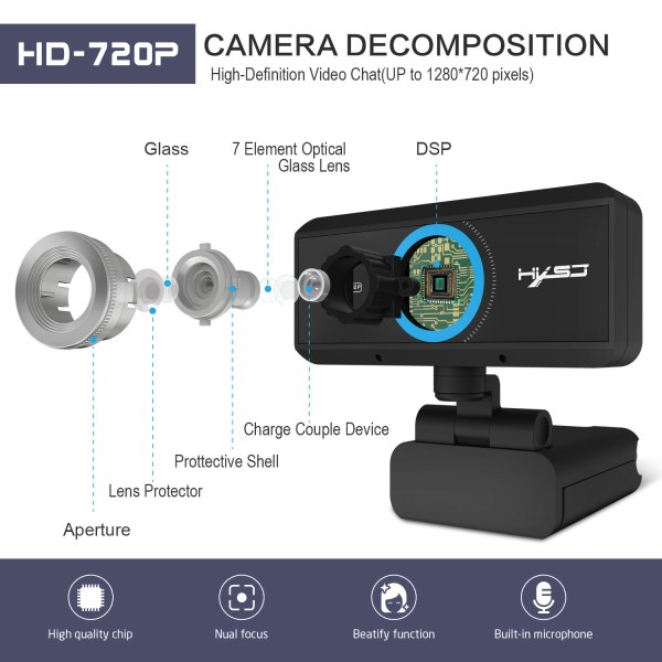 HD 720P Computer Camera, Laptop PC Webcam with Sound Absorbing Microphone 3