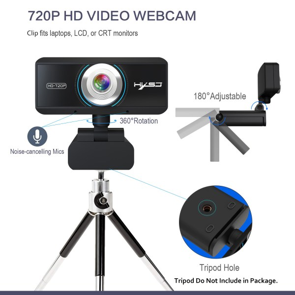 HD 720P Computer Camera, Laptop PC Webcam with Sound Absorbing Microphone 4