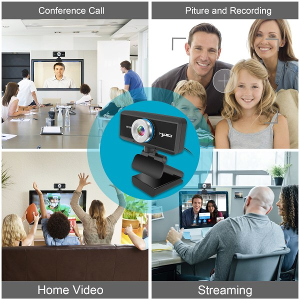 HD 720P Computer Camera, Laptop PC Webcam with Sound Absorbing Microphone 6