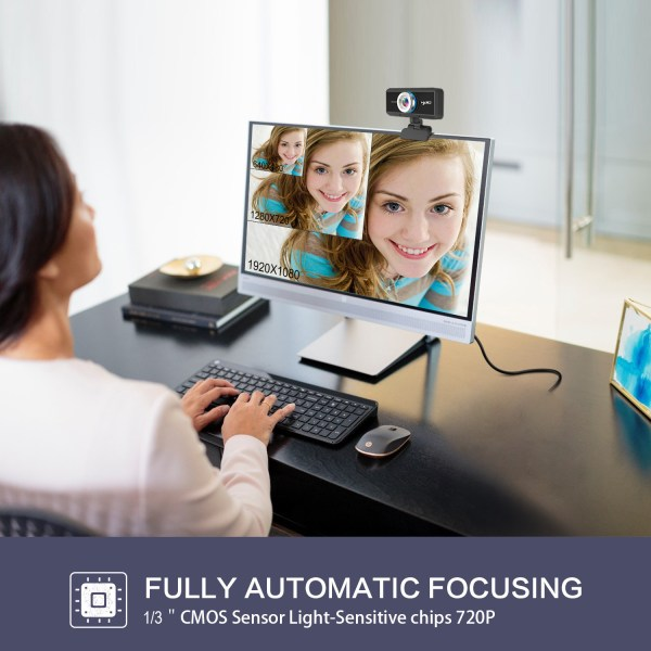 HD 720P Computer Camera, Laptop PC Webcam with Sound Absorbing Microphone 7