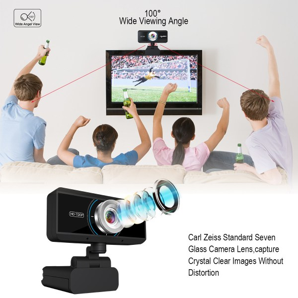 HD 720P Computer Camera, Laptop PC Webcam with Sound Absorbing Microphone 9