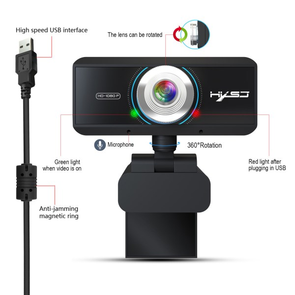 HD 1080P Computer Camera, Laptop PC Webcam with Sound Absorbing Microphone 2