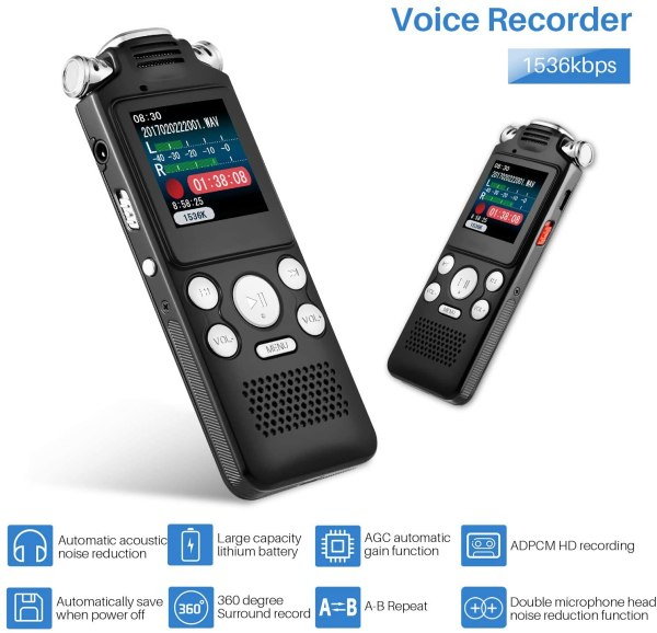 Digital Voice Recorder 16GB with Variable Playback Speed, Sound Recorder, Ultra-Sensitive Microphones, MP3 Player, Noise Reduction Audio Recording 2