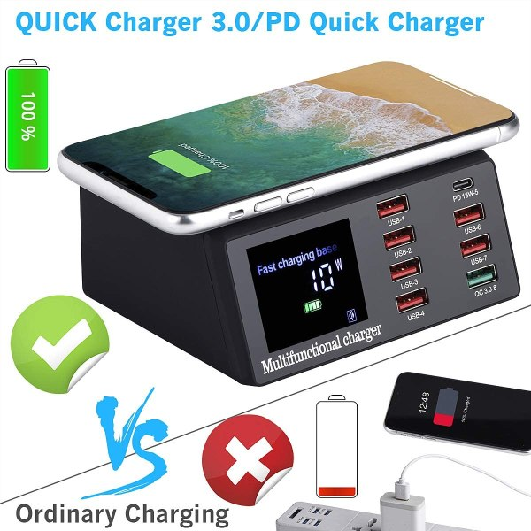 Multiple USB Charger, 100W 8-Port Desktop Charging Station Hub with Quick Charge 3.0 USB Port, PD Fast Wall Charger and LCD Display, with 10W Wireless 2
