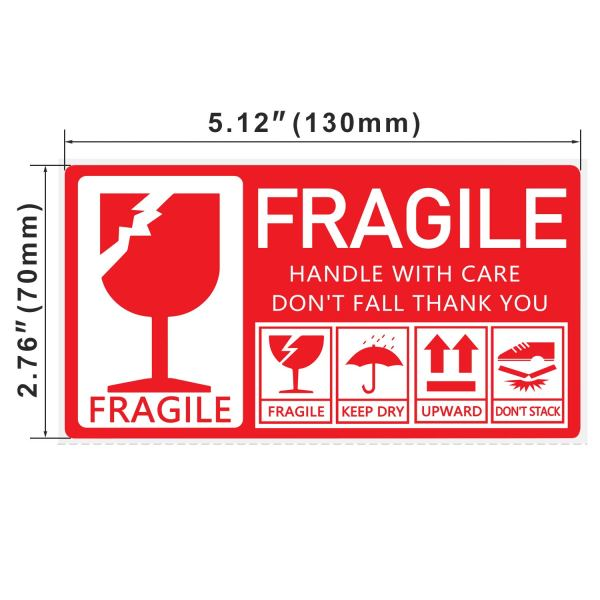 Fragile Stickers 130 x 70mm 1 Roll 250 Labels, Handle with Care Do Not Fall Thank You 4