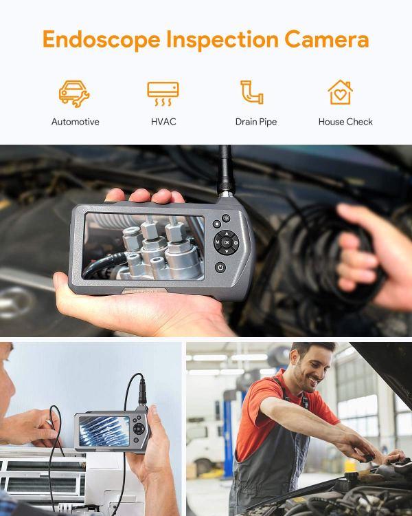 "Industrial Endoscope 3.5"" Screen Borescope Inspection Camera with 0.21"" Diameter Waterproof Snake Camera Probe (3m/9.84ft) 2"