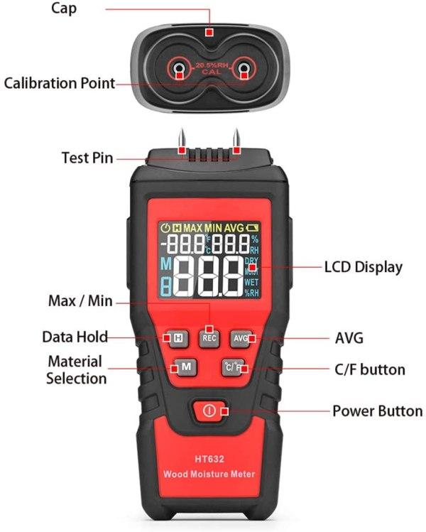 Wood Moisture Meter Digital Wood Humidity Tester Hygrometer Timber Damp Detector with Pin-Type 2