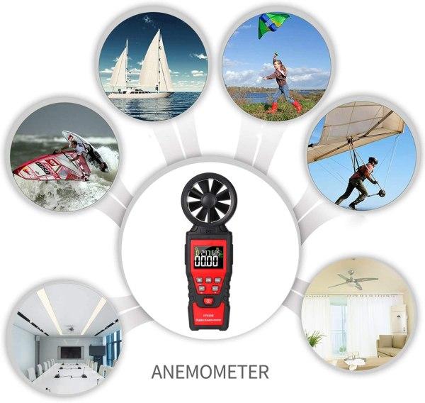 Digital Anemometer Humidity Temperature Testers with USB Data Logging Wind Speed Meter Air Flow Meters (Type B) 2