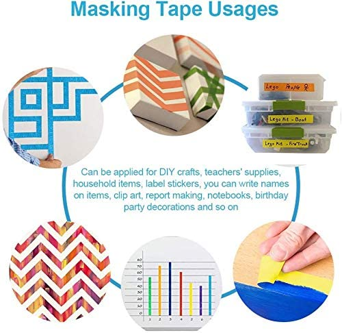 Colored Masking Tape 6 Pack 1 Inch x 13 Yards (2.4cm X 12m) Colorful Paper DIY Decorative Stickers Tape Fun Rainbow Masking Tapes 5