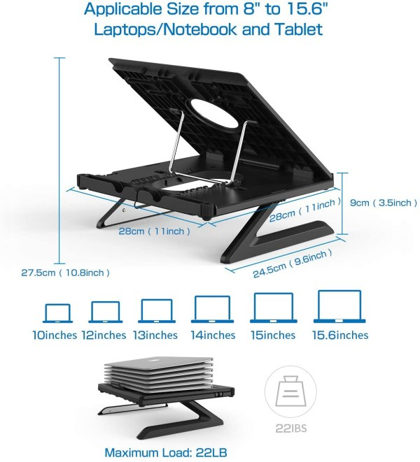 Olmaster Foldable Laptop Stand Adjustable Multi-Angle Computer Riser Portable Laptop Holder with Heat-Vent 7