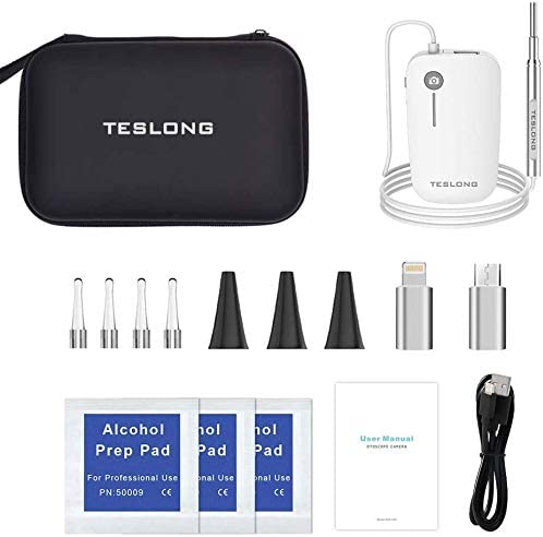 Teslong Otoscope 4.3mm HD Inspection Camera, Ear Microscope, 6 Adjustable LED Lights Works with iPhone, iPad & Android 2