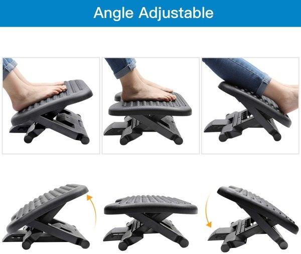 Adjustable Foot Rest Ergonomic Under Desk Footrest with 3 Height Position 30 Degree Tilt Angle Non-Skid Massage Surface Texture 4