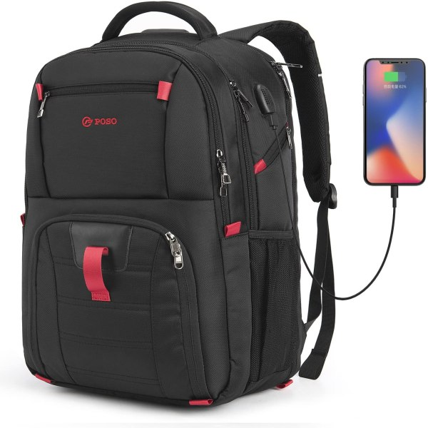 Laptop Backpack 17.3 Inch Computer Bag With USB Port Water-resistant Business Rucksack Hiking Knapsack Multi-compartment Men Backpack 1