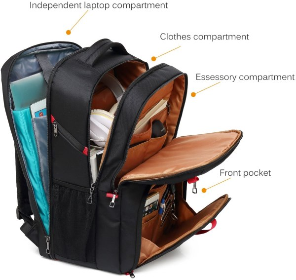 Laptop Backpack 17.3 Inch Computer Bag With USB Port Water-resistant Business Rucksack Hiking Knapsack Multi-compartment Men Backpack 7