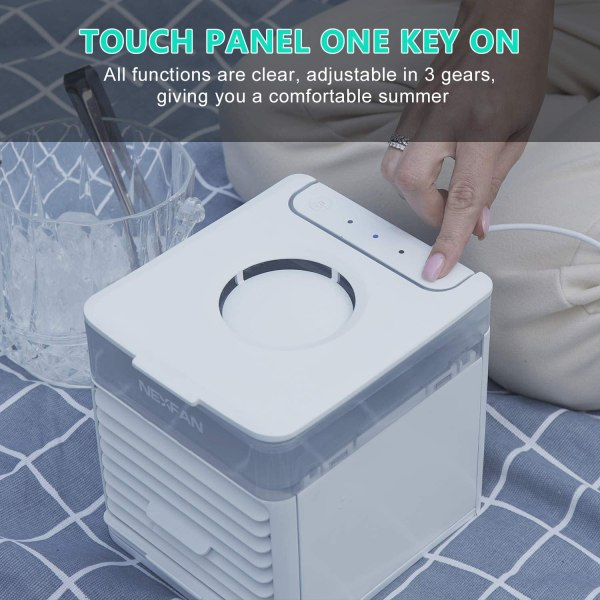 Portable Air Cooler Mini USB Air Conditioner with 3 Speeds and 7 Colors Night Light 7