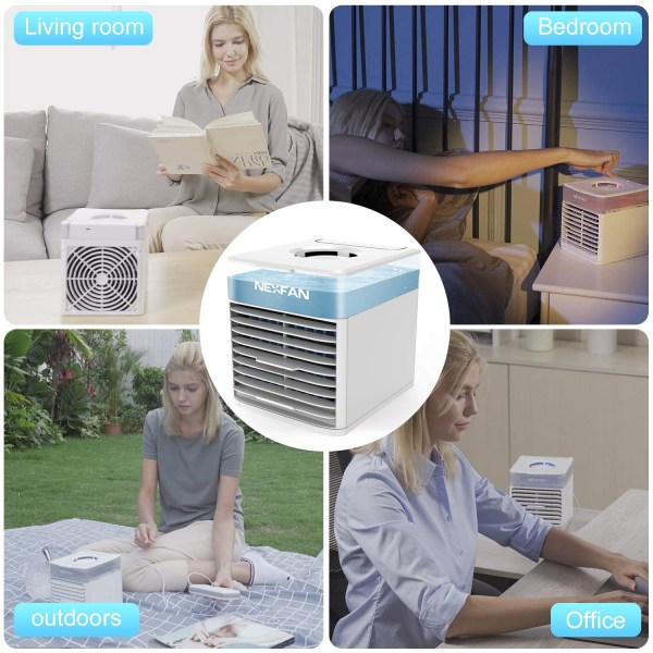 Portable Air Cooler Mini USB Air Conditioner with 3 Speeds and 7 Colors Night Light 5