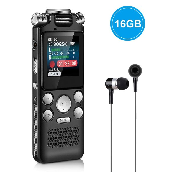 Digital Voice Recorder 16GB with Variable Playback Speed, Sound Recorder, Ultra-Sensitive Microphones, MP3 Player, Noise Reduction Audio Recording 1