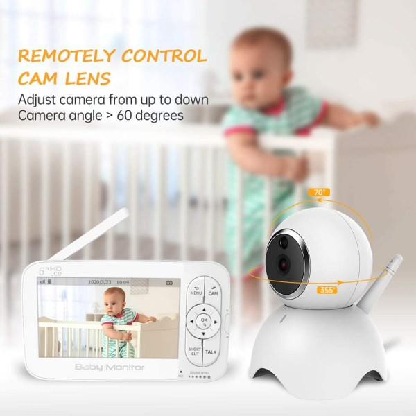 Baby Monitor, 720P 5 Inch HD Display Video Baby Monitor with Camera and Two Way Audio, Auto Night Vision 4