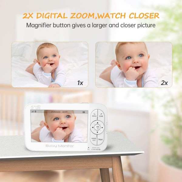 Baby Monitor, 720P 5 Inch HD Display Video Baby Monitor with Camera and Two Way Audio, Auto Night Vision 5