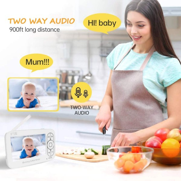 Baby Monitor, 720P 5 Inch HD Display Video Baby Monitor with Camera and Two Way Audio, Auto Night Vision 6