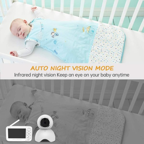 Baby Monitor, 720P 5 Inch HD Display Video Baby Monitor with Camera and Two Way Audio, Auto Night Vision 7