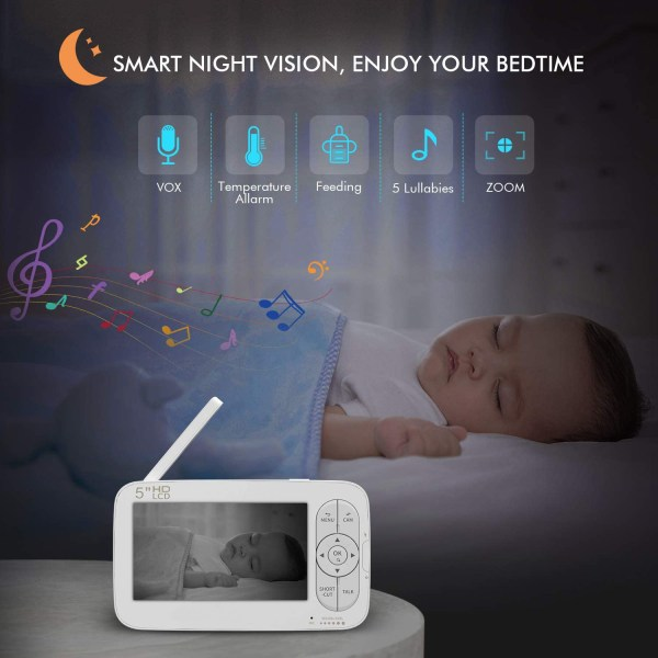 Baby Monitor, 720P 5 Inch HD Display Video Baby Monitor with Camera and Two Way Audio, Auto Night Vision 9