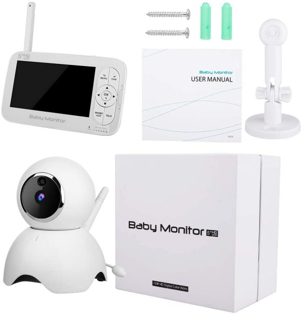 Baby Monitor, 720P 5 Inch HD Display Video Baby Monitor with Camera and Two Way Audio, Auto Night Vision 10
