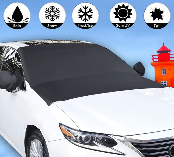 Windshield Cover with Magnet for Snow, Leaves, Rain, Frost, Larger Size (85''x61'') Suit for Most Car 1